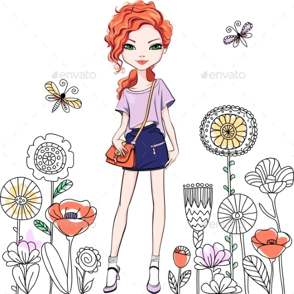 Vector Fashionable Girl - People Characters