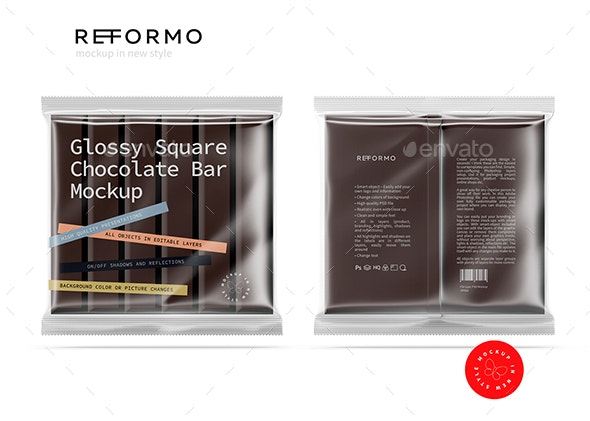 Transparent Square Chocolate Bar Mockup - Food and Drink Packaging