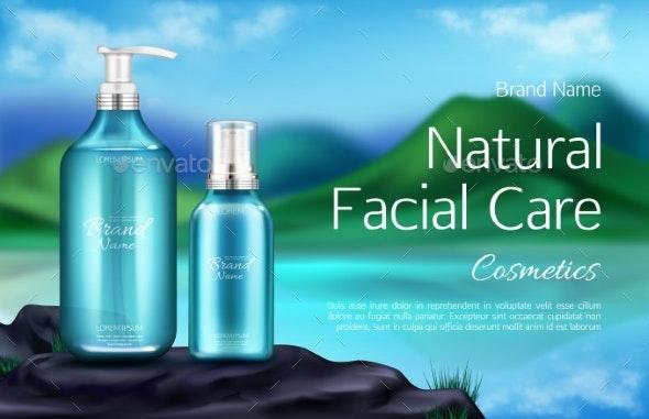 Cosmetics Bottle on Mountain Landscape Background - Health/Medicine Conceptual