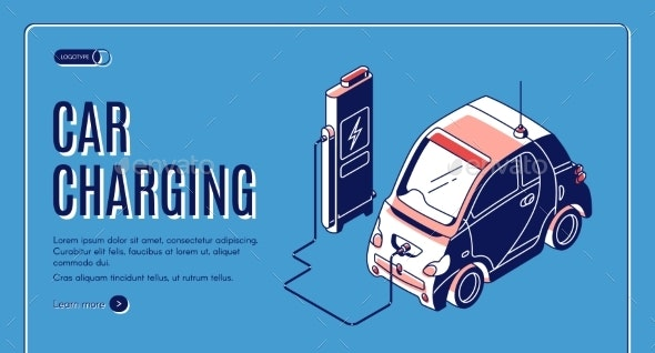 Eco Car Charging Isometric Banner Power Station - Technology Conceptual
