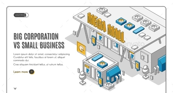 Corporation in Small Business Isometric Banner - Concepts Business