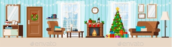 Cozy New Year Decorated Corridor Living Room - Buildings Objects