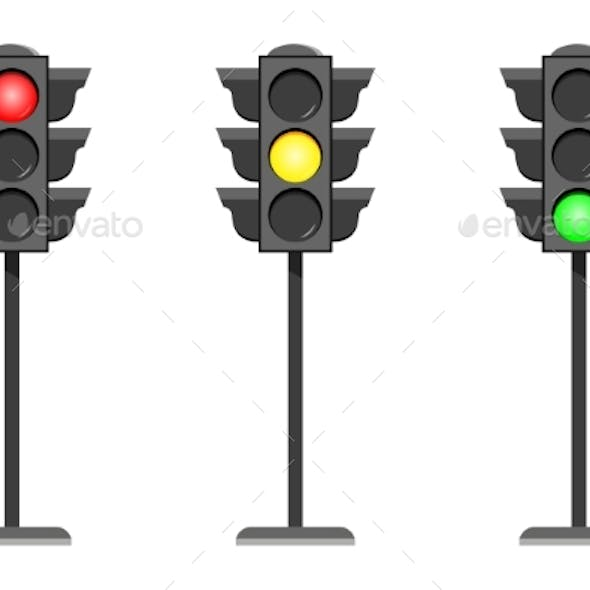 Vector Concept Traffic Light Interface Icons Flat