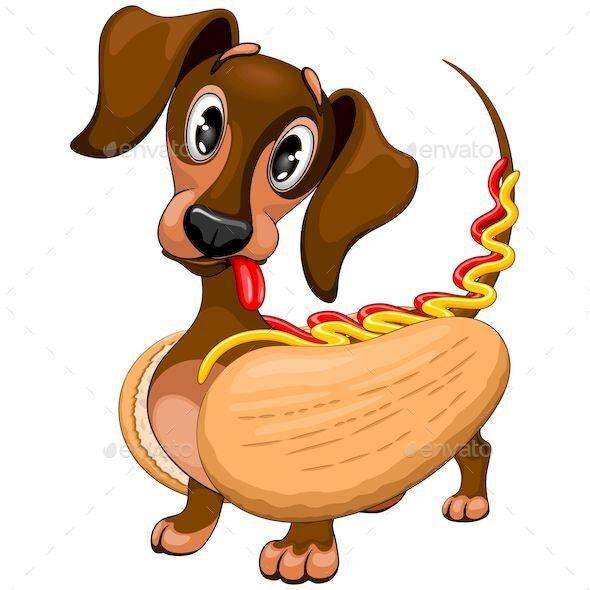 Dachshund Hot Dog Cartoon Character Vector Illustration - Animals Characters