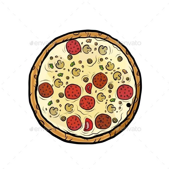 Italian Pizza Mushrooms Sausage - Food Objects