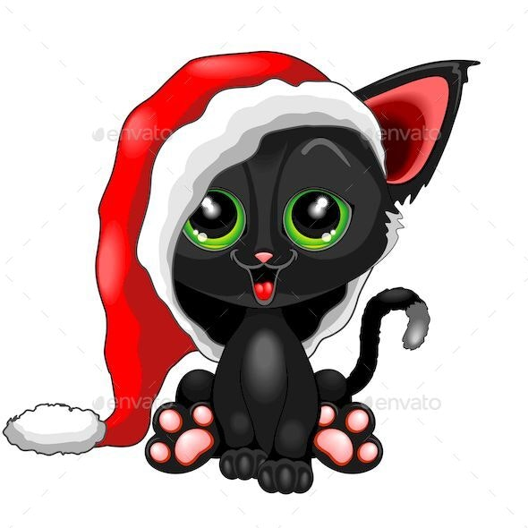 Christmas Pictures Cartoon.Christmas Kitty With Santa Claus Beanie Character