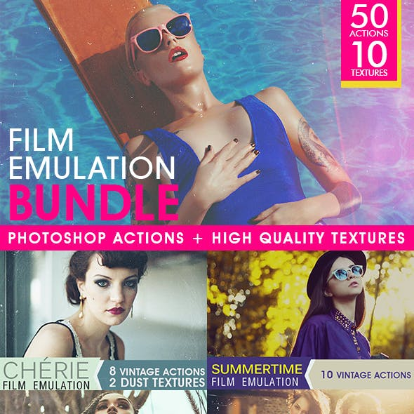 Film Emulation: Actions and Textures Bundle