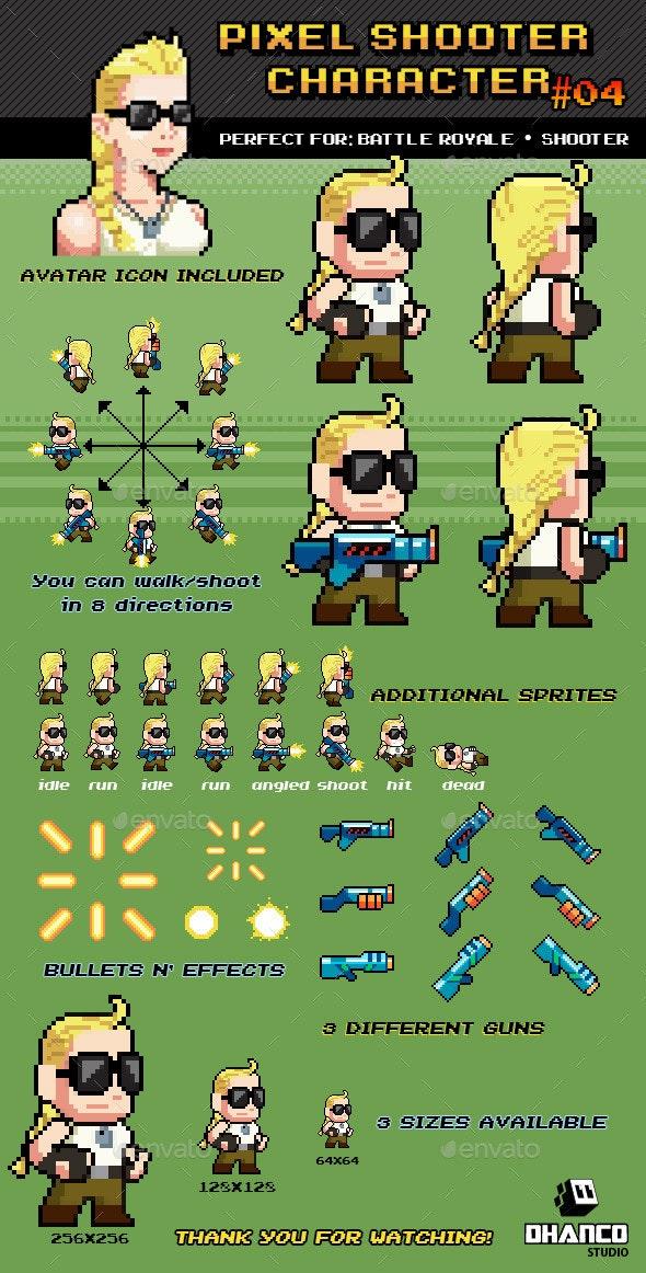 Battle Royale / Shooter Pixel Character Nº 04 - Sprites Game Assets