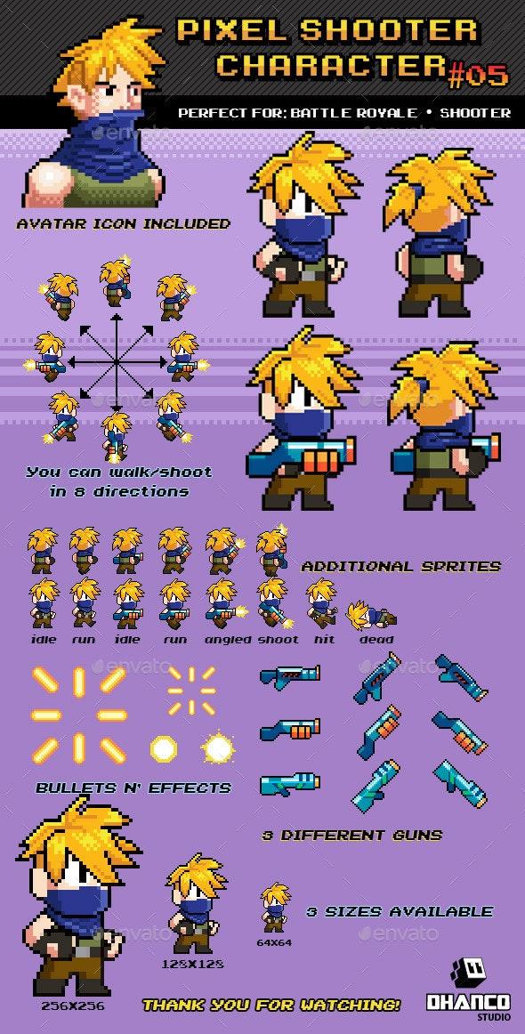 Battle Royale / Shooter Pixel Character Nº 05 - Sprites Game Assets