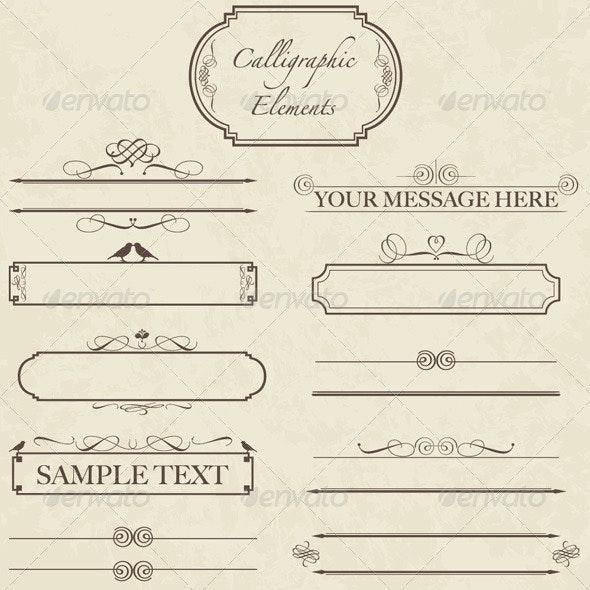 Vintage Calligraphic Elements - Vector Set - Decorative Symbols Decorative