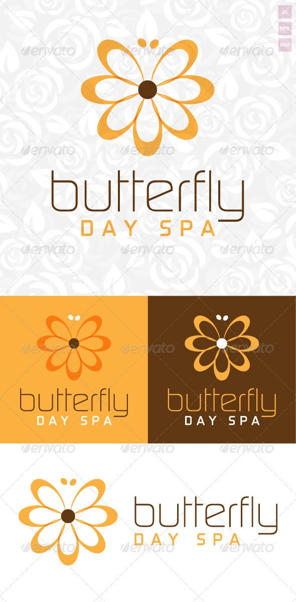 Butterfly Day Spa Logo - Nature Logo Templates
