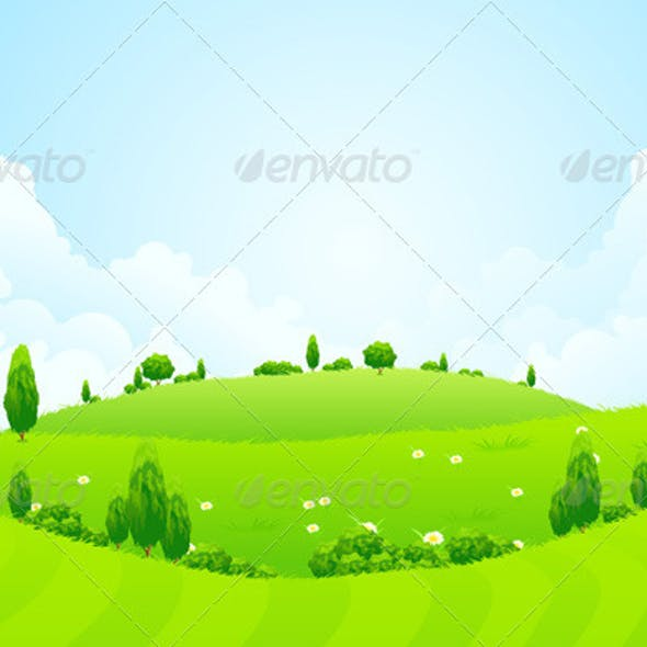 Green Background with Grass Trees Flowers and Hill