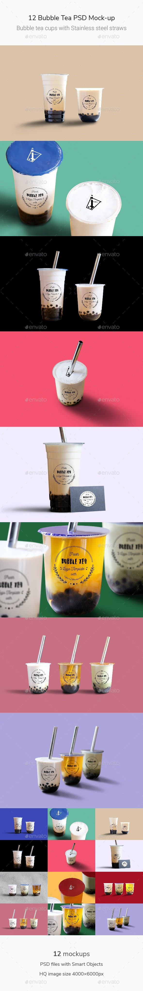 Bubble Tea PSD Mock-up - Food and Drink Packaging