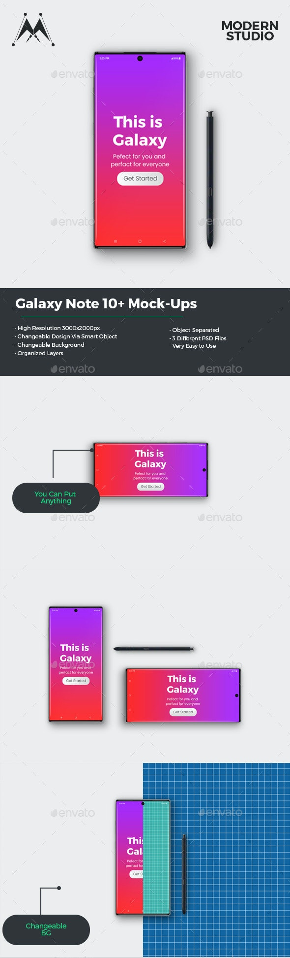 Galaxy Note 10+ Mockup - Mobile Displays