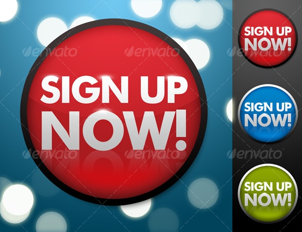 Sign Up Now Button in 3 Colors - Buttons Web Elements