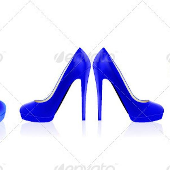 Blue Vector High Heels