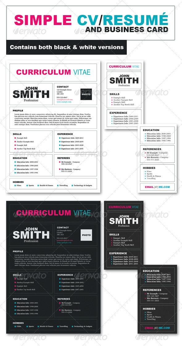 CV/Resumé + Business Card Pack - Resumes Stationery