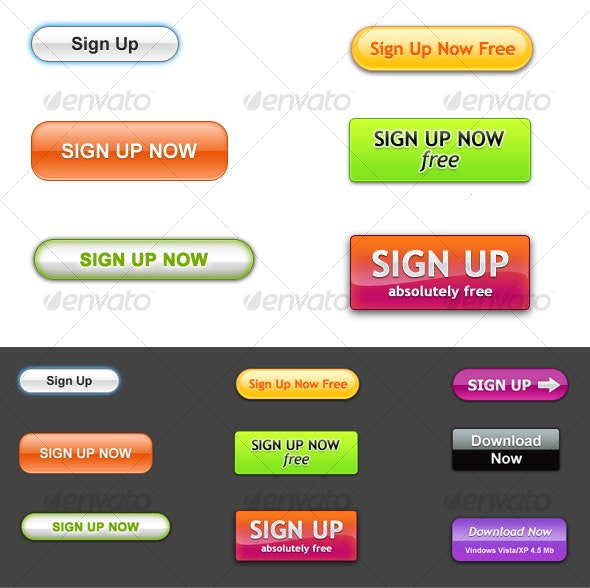 Higly Attractive Sign Up and Download Buttons - Buttons Web Elements