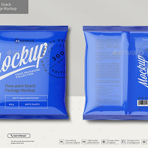 Plastic Snack Package Mockup Front & Back Views