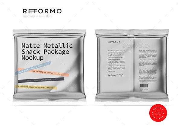 Matte Metallic Snack Package Mockup - Product Mock-Ups Graphics