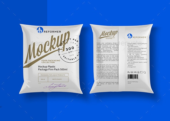 Mockup Package Finn Pack 500ml - Product Mock-Ups Graphics