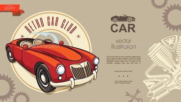 Retro Car Club Background - Miscellaneous Vectors