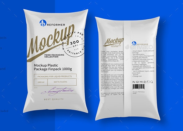 Mockup Package Finn Pack 1000g - Product Mock-Ups Graphics