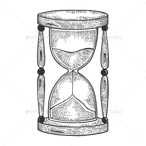 Sand Watch Glass Sketch Engraving Vector - Miscellaneous Vectors