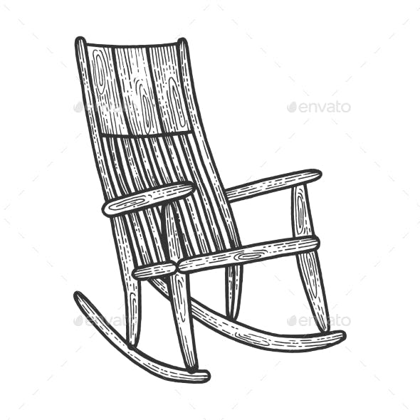 Rocking Chair Sketch Engraving Vector