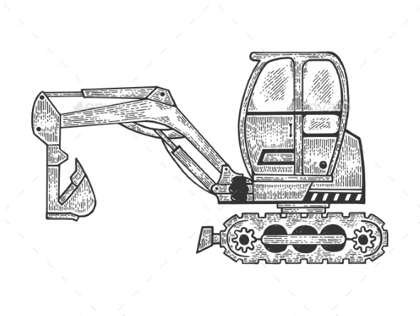 Excavator Machine Sketch Engraving Vector - Man-made Objects Objects
