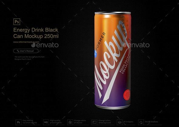 Energy Drink Black Can Mockup 250ml - Product Mock-Ups Graphics