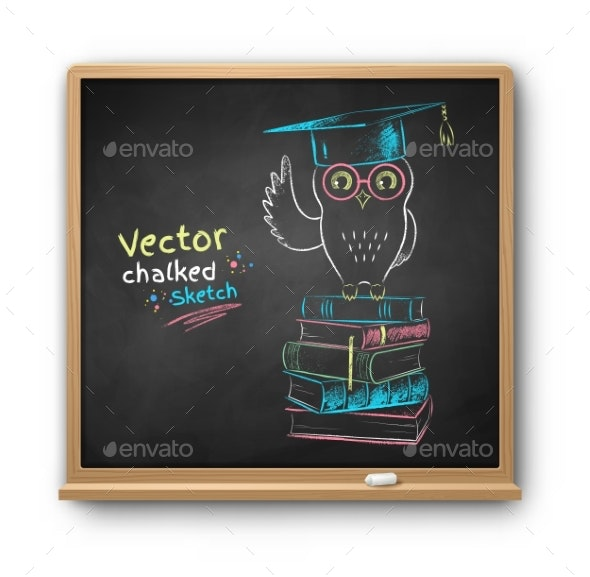 Vector Chalk Drawn Illustration of Owl on Books - Miscellaneous Vectors