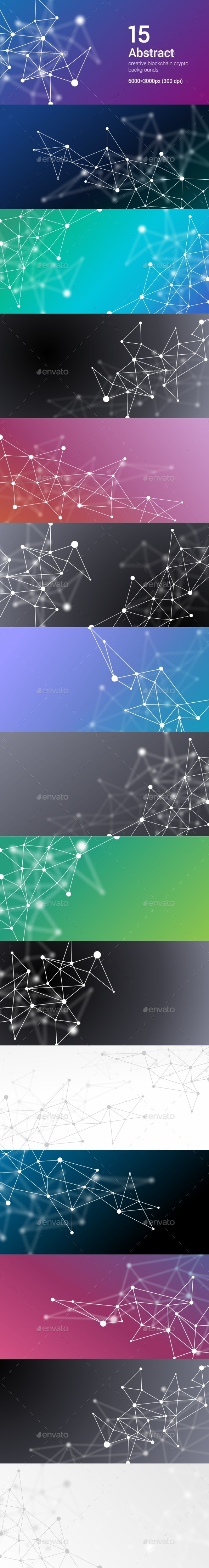 15 Abstract Futuristic Crypto Blockchain Backgrounds. White Dots and Shapes in Triangles Set 4
