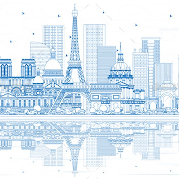 Outline France City Skyline with Blue Buildings and Reflections