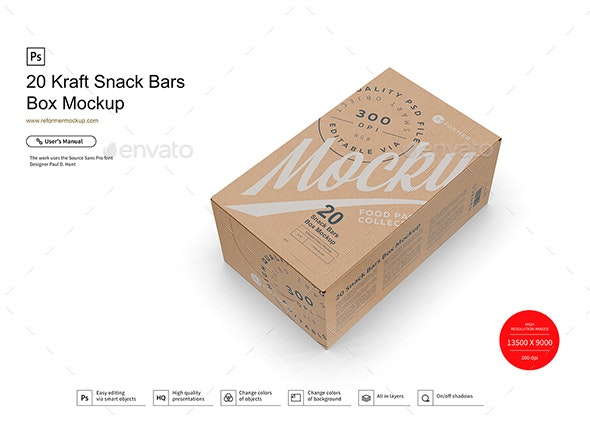 20 Kraft Snack Bars Box Mockup - Product Mock-Ups Graphics