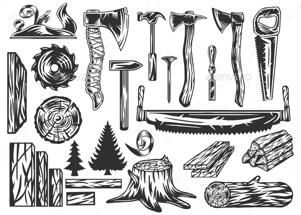 Vector Set of Vintage Carpentry Tools - Miscellaneous Vectors