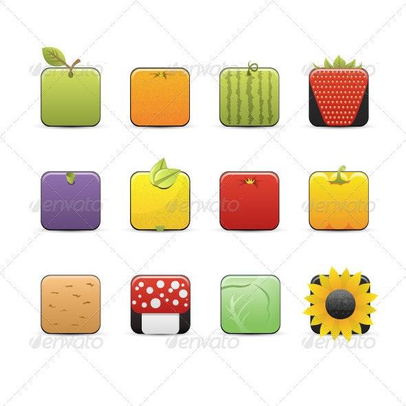 Design Fruits Icons Set - Nature Conceptual