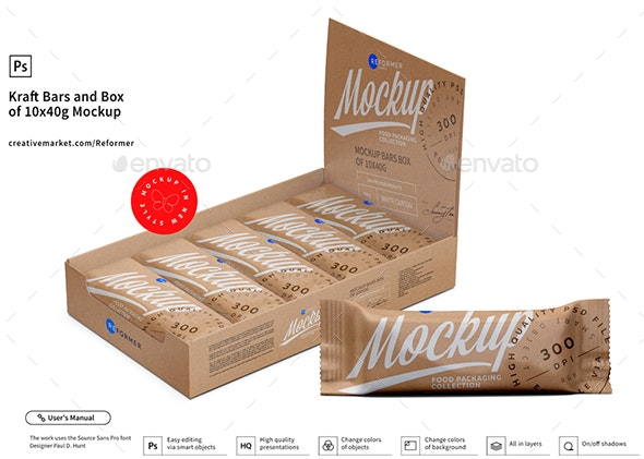 Kraft Bars and Box of 10x40g Mockup - Food and Drink Packaging
