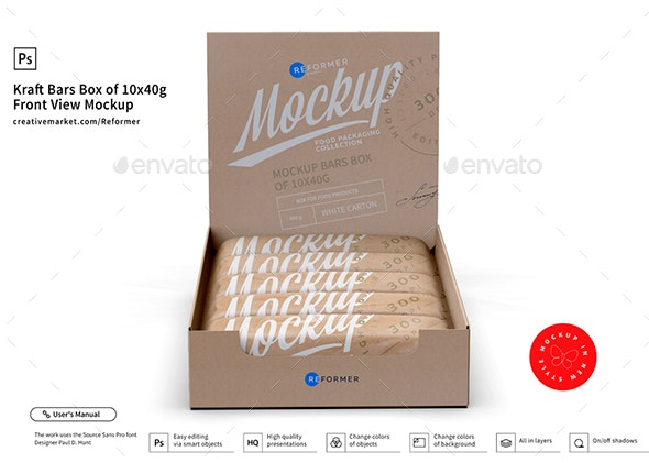 Kraft Bars Box of 10x40g Front View Mockup - Food and Drink Packaging