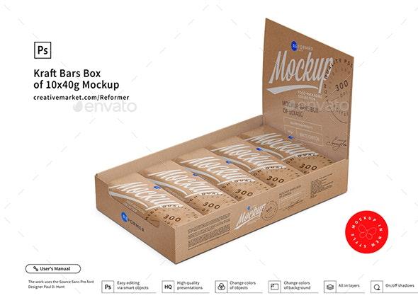 Kraft Bars Box of 10x40g Mockup - Food and Drink Packaging