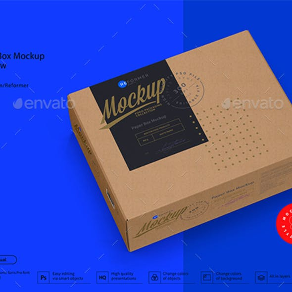 Kraft Paper Box Mockup Half Side View