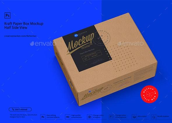 Kraft Paper Box Mockup Half Side View - Packaging Product Mock-Ups
