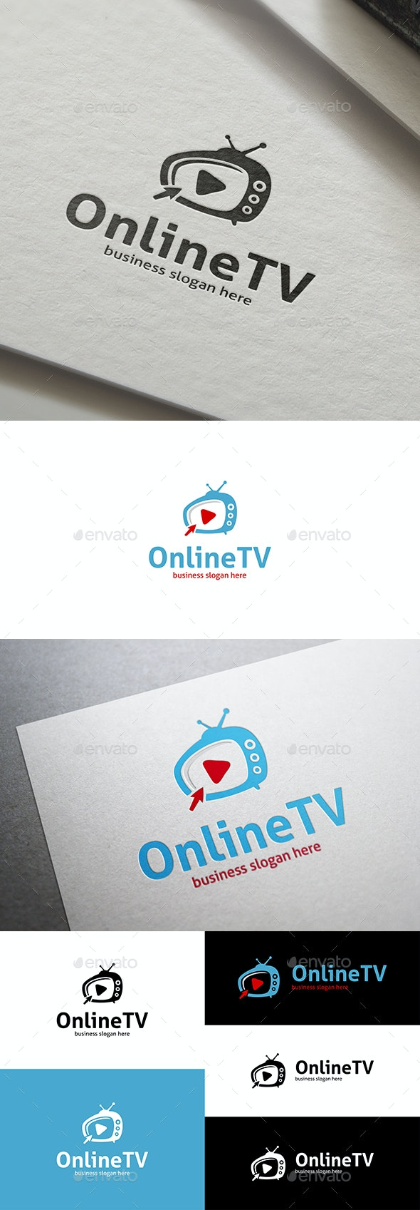 Online TV Logo with a Mouse Cursor and Play Symbol - Objects Logo Templates