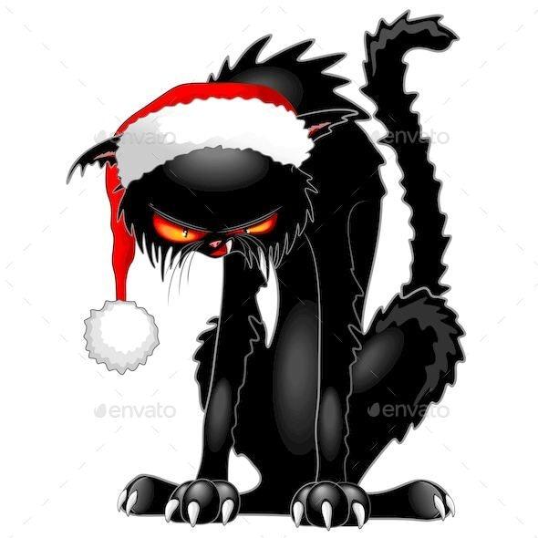 Evil Christmas.Christmas Evil Black Cat Humorous Character