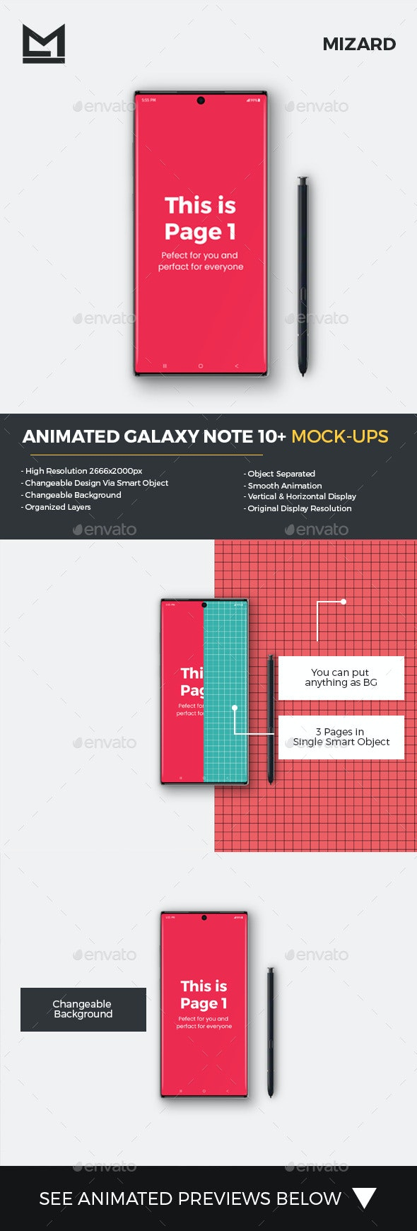 Animated Galaxy Note 10+ Mockup - Mobile Displays