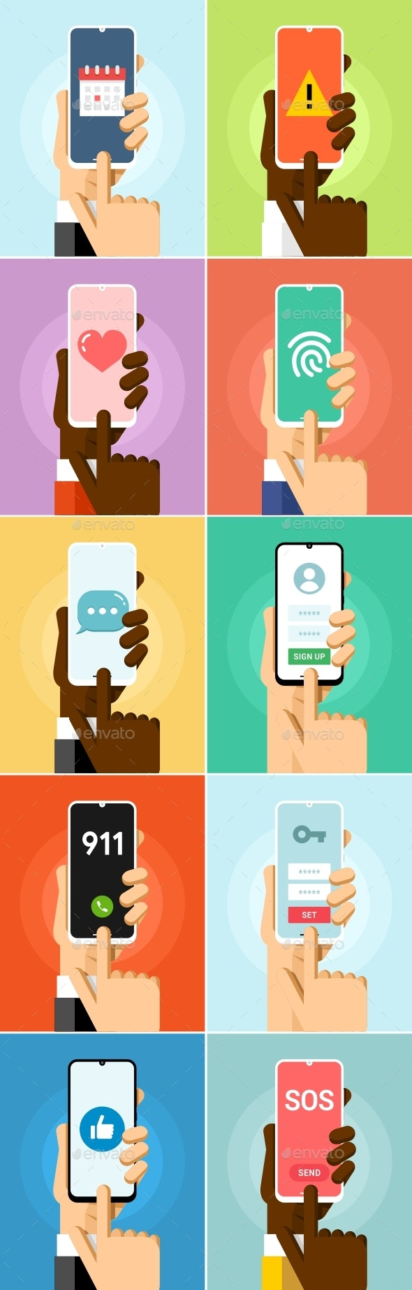 Phone in Hand Mock-Up Flat Vector Set 7 - Communications Technology