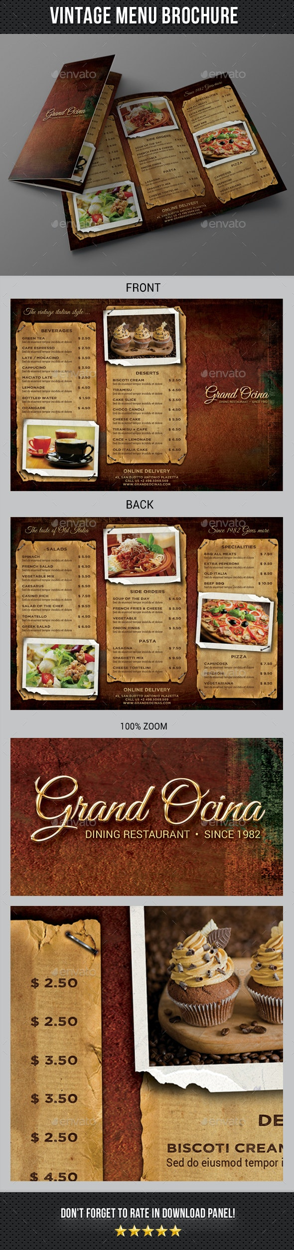 Vintage Menu 3-Fold Brochure - Food Menus Print Templates