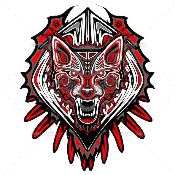 Wolf Tattoo Haida Art Symbol Vector Illustration
