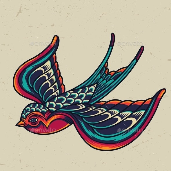 Colorful Flying Swallow Template - Animals Characters
