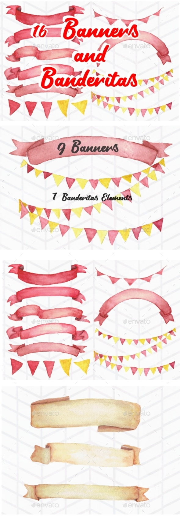 16 Watercolor Banners and Banderitas - Objects Illustrations